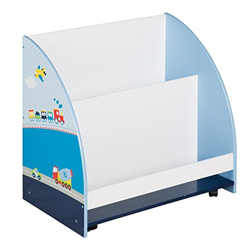 roba Kinder Regal 'Rennfahrer', Spielzeug- & Bücher-Regal fürs Kinderzimmer, Spielregal fahrbar & drehbar mit Rollen, blau