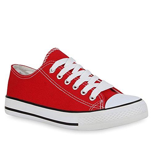 stiefelparadies Damen Schuhe Sneakers Sportschuhe Freizeit Stoffschuhe 41216 Rot 42 Flandell