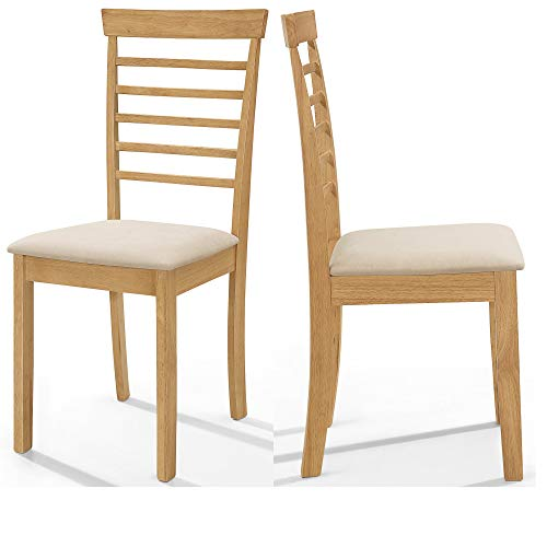 Hallowood 2 x Ledbury Solid Wood Dining Chair in Light Oak Finish with Fabric Pad | Wooden Kitchen Table Seat Pair, Rubberwood, LEB-CHA-L