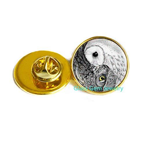 Broche de búho yin yang, broche yin yang, joyería de búho, broche zen, broche de cúpula de cristal, pin de arte, pin espiritual para yoga, Q0096