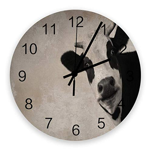 Reloj de pared con diseño de animales de granja, silencioso, con un fondo vintage, funciona con pilas, 25,4 cm
