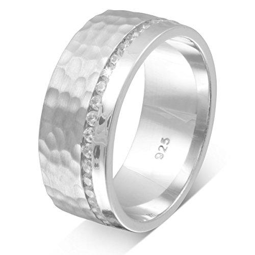 Adomio -Trauring Partnerring Antragsring Verlobungsring mit Hammerschlag-Technik Handarbeit – Ring aus massivem 925 Sterling Silber rundum mit Steinen besetzt Zirkonia & gratis Gravur – S-AS-D-54(17,2)