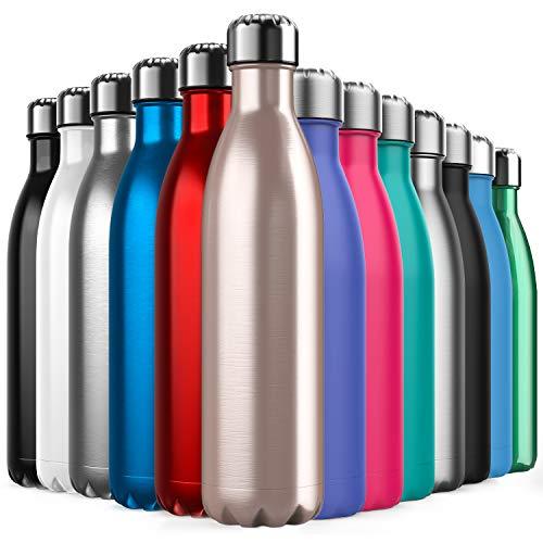 BICASLOVE Botella de Agua de Acero Inoxidable,Diseño de Pared Doble,Boca EstáNdar,para Correr, Gimnasio, Yoga,...