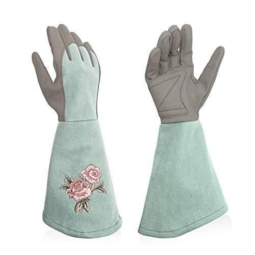 Intra-FIT ガーデングローブ バラグローブ バラ手袋 園芸用手袋 長袖 園芸手袋 合成革 柔らかい グリップ トゲ防止 フィット 花柄 水色 XLサイズ