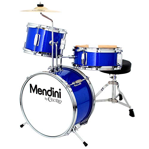 Mendini by Cecilio 13 inch 3-Piece Kids/Junior Drum Set with Throne, Cymbal, Pedal & Drumsticks, Royal Blue Metallic, MJDS-1-BB2