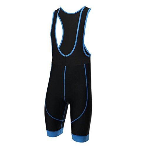 Gwell, pantaloni corti da ciclismo con bretelle, con seduta imbottita, Blau, EU S (Tag M)