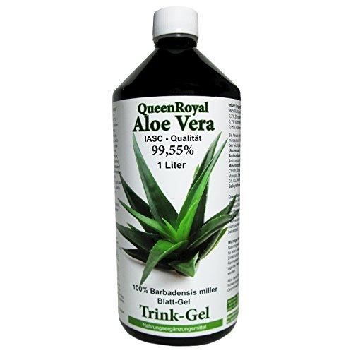 Aloe Vera IASC Barbadensis miller Trink Gel 1 Liter Flasche von QueenRoyal 99.55% Blatt-Gel pur OHNE Geschmacksstoffe OHNE Verdickungsmittel. 30035 W