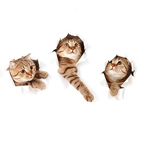 ZRSE 3D removibile Cat Stickers Adesivi Cartone Divertente Animato domestici Animale Adesivi...