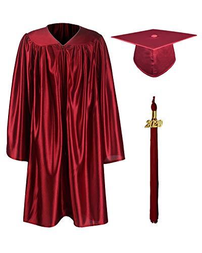 GraduationMall Shiny Kindergarten & Preschool Graduation Gown Cap Set with 2020 Tassel Maroon 30(3'9