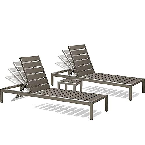 Chaise Longue da Esterno, Chaise Longue Regolabile per Patio con tavolino, mobili da Giardino in Rattan per Giardino con Piscina sulla Spiaggia, Legno di plastica