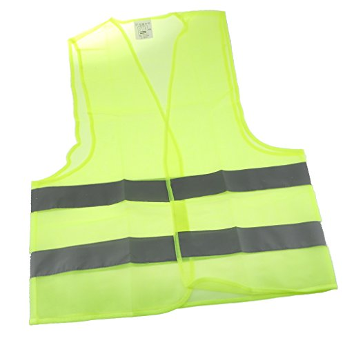 H HILABEE Chaqueta de Chaleco de Seguridad Verde Neón con Tiras Reflectantes de Visibilidad de Gran Tamaño