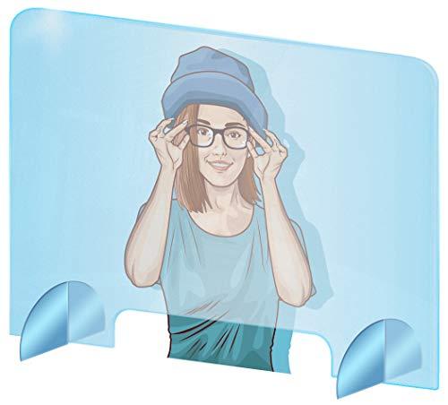THE BIG things Spuckschutz Polycarbonat - Glasklar Polycarbonat Schutzwand - sichern Spuckschutz Thekenaufsatz mit Durchreiche - Farblose Polycarbonat Platten (100x70 cm (BxH))