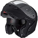 Nexo Klapphelm Motorradhelm Helm Motorrad Mopedhelm Fiberglas Travel II, 1.550 g, großes, klares und kratzfestes Visier, effektives Lüftungssystem, Klickverschluss, Sonnenblende, matt Schwarz, XS - XL