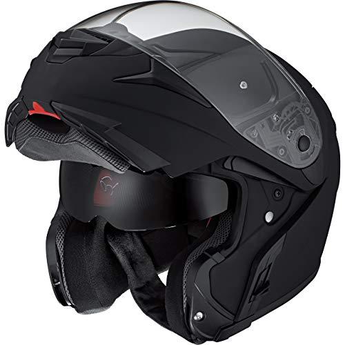 Nexo Klapphelm Motorradhelm Helm Motorrad Mopedhelm Fiberglas Travel II, 1.550 g, großes, klares und kratzfestes Visier, effektives Lüftungssystem, Klickverschluss, Sonnenblende, matt Schwarz, L