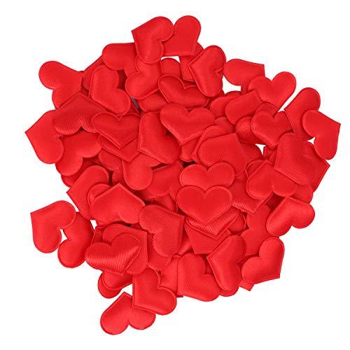 BESTOYARD Herz Konfetti Stoff 3D Tisch Konfetti Herz Verzierung Streudeko Hochzeit Tisch Dekoration 3cm 600 Stück (Rot)