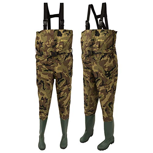 Michigan Camo Camouflage Waterproof Nylon Fishing Chest Waders with Belt...