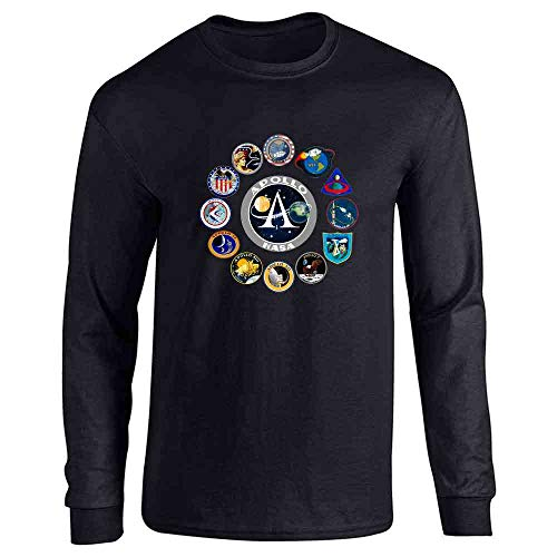 NASA Approved Apollo Mission Patches Retro Vintage Black L Full Long Sleeve Tee T-Shirt