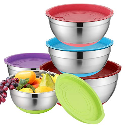 Hompiks Mixing Bowls With Lids Set Stainless Steel Metal Mixing Bowl Sets for Kitchen Baking Mixing Bowls Set of 5, 1.5, 2.5, 3.5, 4.5, 5.5 Quart