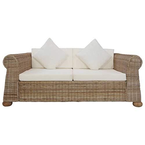 Tidyard Sofa 2-Sitzer mit Auflagen Rattansofa Loungesofa Sitzmöbel Wohnzimmersofa Wohnmöbel Büromöbel Rattanmöbel Designersofa Natur Rattan