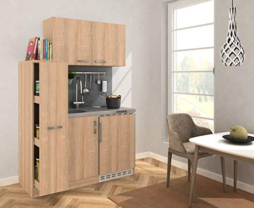 respekta Miniküche Küche Küchenzeile Pantry Küchenblock 130 cm Eiche Sägerau