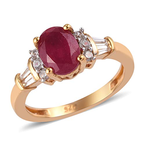 TJC Ruby Solitaire Ring for Women in 14ct Gold Plated 925 Sterling Silver Christmas Gift/Engagement Jewellery Size R with Cambodian Zircon, TCW 10.14ct