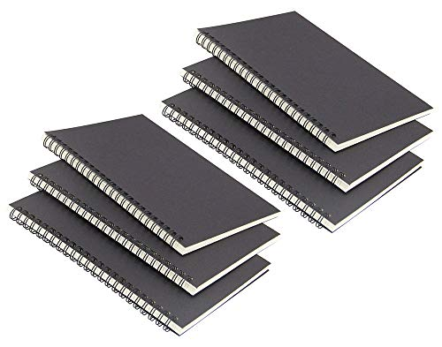 6 Pack Black Cover Spiral Notebook, College Ruled Subject Notebooks,Lined Thick Paper 50 Sheets (100 Pages)-8.27x 5.59inch,A5 Size Notebook.