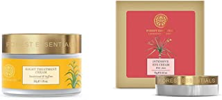 Forest Essentials Sandalwood and Saffron Night Treatment Cream, 50g & Intensive Eye Cream with Anise, 15g