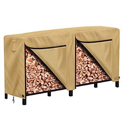 Sunkorto Log Rack Cover, 8-Feet Heavy Duty Waterproof Patio Outdoor Firewood Rack Cover