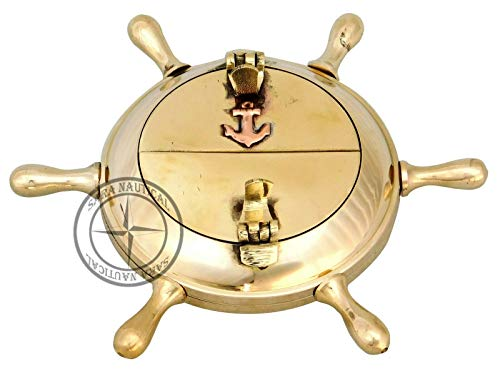 Vintage Brass Ship Wheel Ashtray Anchor Inalid 5' Nautical Cigar Cigarette Case