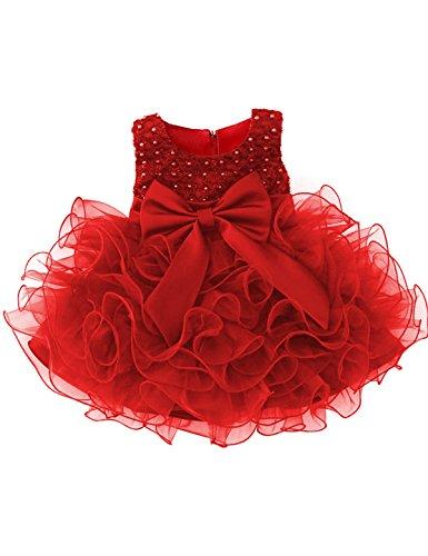 NNJXD Mädchen Party Pailletten Prinzessin 6 Multi Layer Tutu Tüll Kleid Größe(80) 7-12 Monate Rot