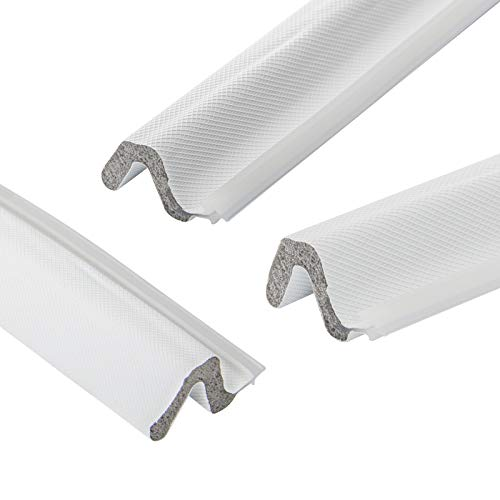 Kerf Weather Seal Stripping 3 PCS 84 Inch White Resilient PU Foam Door Weatherstrip Seal, Ideal for Various Doors with Slot, Total 21 Ft