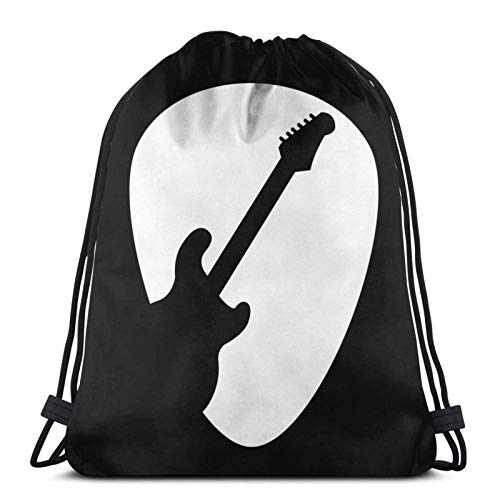 LREFON Mochila Saco Púa de Guitarra eléctrica T Logo-Mochila Saco-Negro