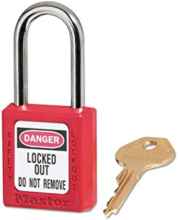 Master Lock 410RED Government Safety Lockout Padlock, Zenex, 1 1/2-Inch, Red, 1 Key, 6/Box