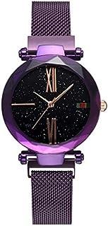 Stylish watch Women's Watch Quartz Wrist Watch with Round Dial Starry Sky Watch with Magnetic Buckle Strap for Elegant Female,Purple Watch