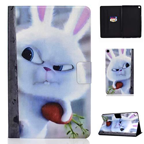 Funda para Apple iPad Mini 5/4 / 3/2 / 1 Carcasa de Cuero Tablet PC Cover Patrón Animal Case Función de Reposo automático/Despertar - Conejo Blanco