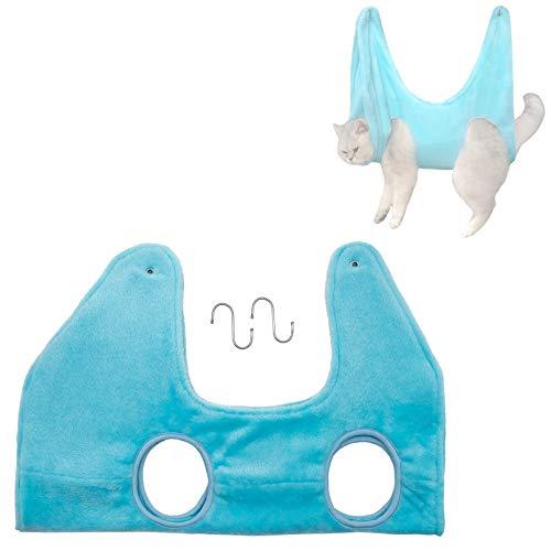 RNSSEZ ペットヘルパーハンモック、 グルーミングハンモック拘束バッグ、 入浴用ペットバスタオル 乾燥タオル、 フック付き犬/猫グルーミングハンモックヘルパー クリーニング、 グルーミング、 爪のトリミング、 耳のクリーニングに使用されます(ブルー、