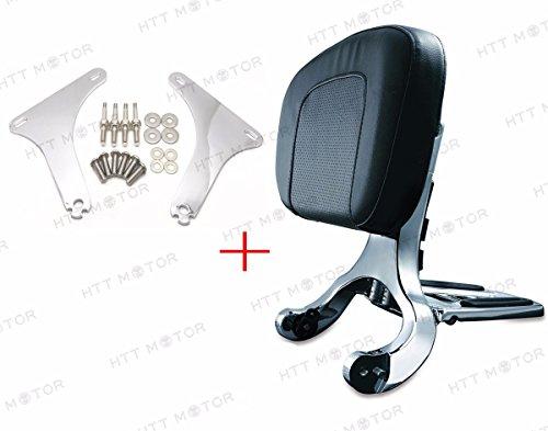 Multi Purpose negro respaldo y soporte de cromo para Harley Heritage Softail