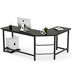 [SIMPLE STYLE L-SHAPED COMPUTER DESK OFFICE DESK] - come with Free CPU Stand - made of E1 class environment protection particial board (desktop) & thicker steel (frame & leg) ) [L-SHAPED CORNER DESIGN] - wide desktop & space saving, you will have ple...