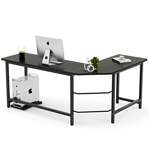 Tribesigns Modern L-Shaped Desk Corner Computer Desk PC Laptop Study Table Workstation Home Office Wood & Metal, Black