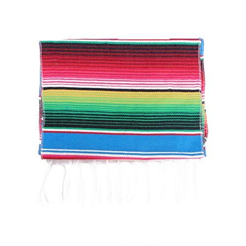 VOSAREA Camino de Mesa de Sarape Mexicano Arco Iris Camino de Mesa Franja algodón Tejido a Mano Mantel de Mesa para Decoraciones de Boda de Fiesta Mexicana (Azul)