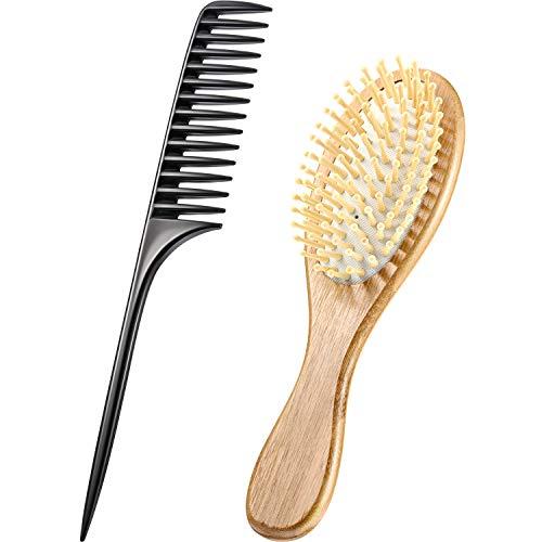 Ensemble de Brosse à Cheveux en Bambou Brosse à Cheveux à Palette Brosse à Cheveux avec Manche en Bois Brosse à Cheveux de Massage Démêlante Antistatique en Poils et Peigne de Queue de Rat