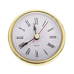 Emivery Classic Clock Movement 2-1/2 (65mm) Round Roman Numeral Quartz Clock Insert with Gold Trim Home Decor