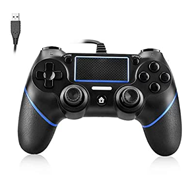 PS4 Controller Powcan Wired Controller for Playstation 4 Dual Vibration Shock Joystick Gamepad for PS4/PS4 Slim/PS4 Pro and PC with 2.1m Long USB Cable, Black+Blue