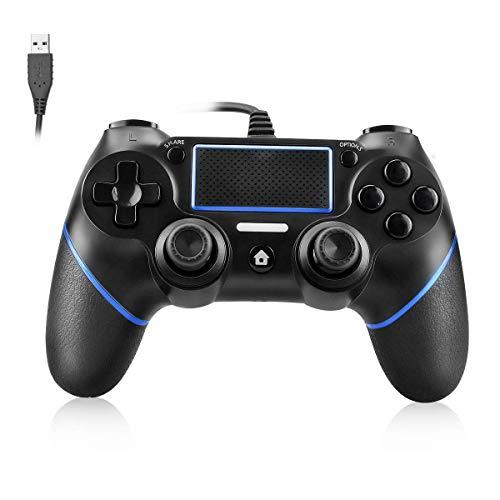 Powcan Controller PS4 Controller cablato per Playstation 4 Dual Vibration Shock Joystick Gamepad per PS4   PS4 Slim   PS4 Pro e PC con cavo USB lungo 2,1 m, nero + blu