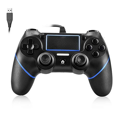 Powcan PS4 Controller Wired Controller voor Playstation 4 Dual Vibration Shock Joystick Gamepad voor PS4/PS4 Slim/PS4 Pro en PC met 2.1m lange USB-kabel