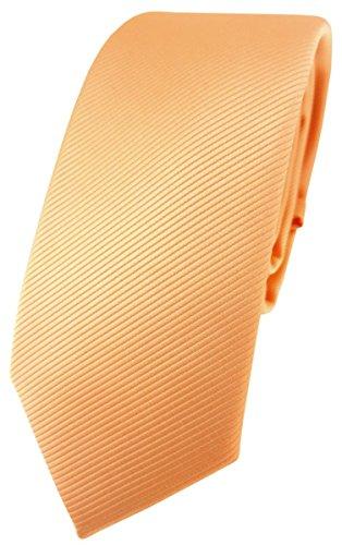 TigerTie schmale Designer Krawatte in lachs orange einfarbig Uni Rips gemustert