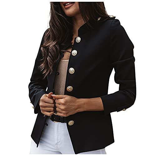 yiouyisheng Blazer, giacca da donna slim fit, corta, tinta unita, a maniche lunghe, con...