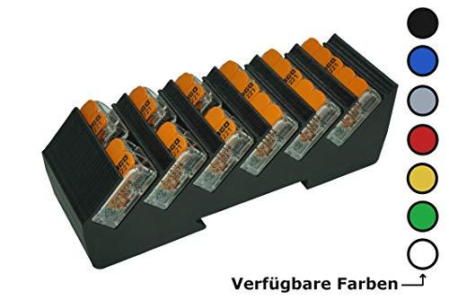 Din Rail Hutschienenhalter für 6x Wago Klemmen/lever clamps 221-412/413/415 (Wagoklemmen nicht im Lieferumfang!) (Weiß)