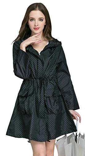 Dames Windbreaker Style Vintage Dot manchetten Foldable Regenjas Womens Hooded waterdicht buiten Lightweight Raincoat,Black