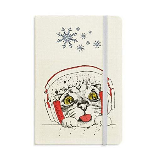 Notizbuch mit rotem Headset, weiße Katze, schützt Tierliebhaber, dickes Tagebuch, Schneeflocken, Winter